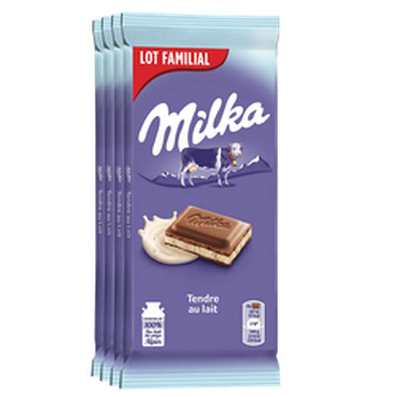 Chocolat tendre au lait, Milka LOT FAMILIAL (4 x 100 g)