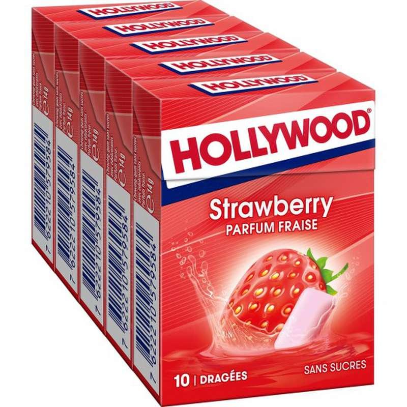 Chewing-gum fraise sans sucres, Hollywood (70 g)