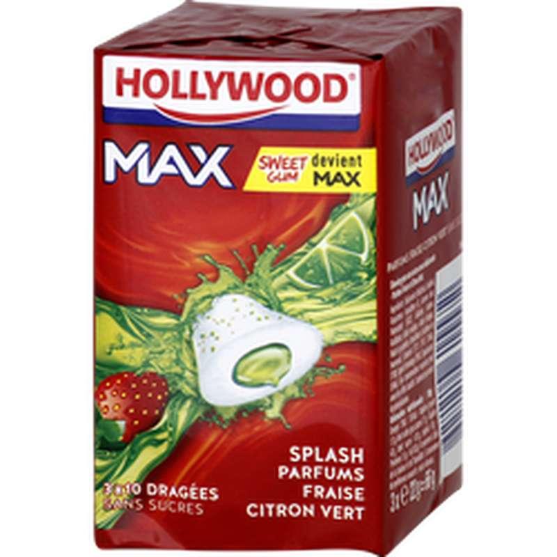 Chewing-gum max splash fraise citron vert sans sucre, Hollywood (3 x 22 g)