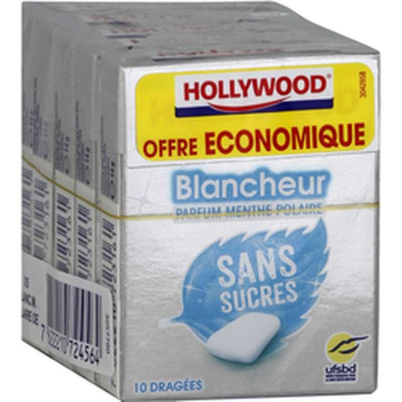 Chewing-gum Blancheur menthe polaire sans sucre, Hollywood (5 étuis de 10 dragées)