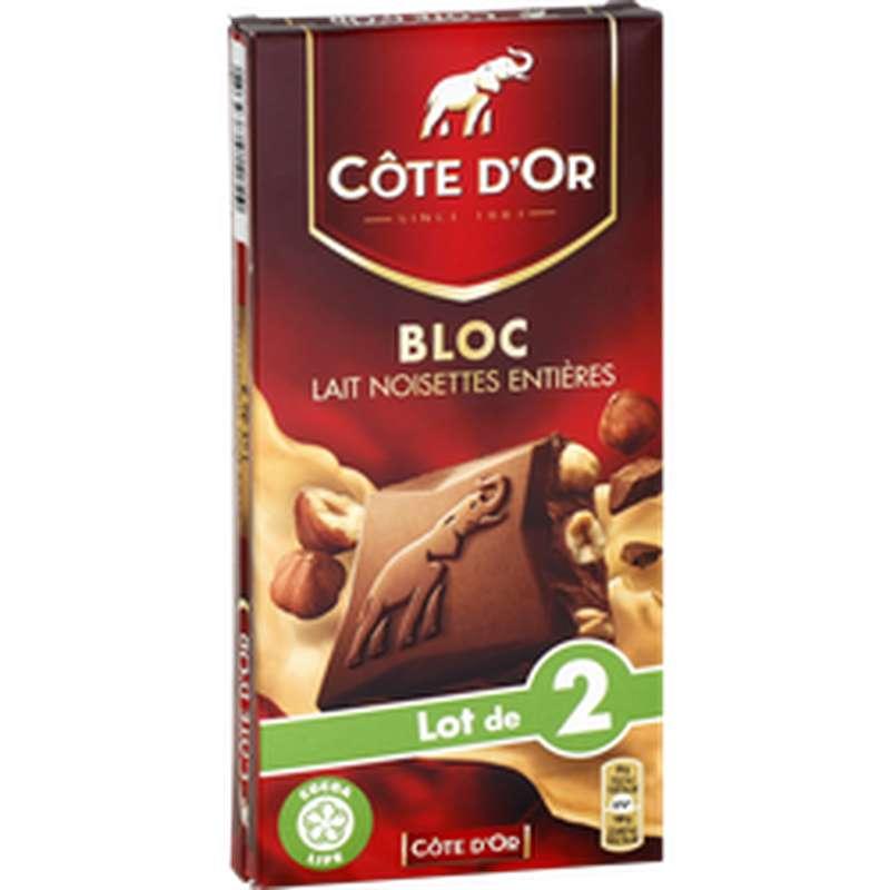 Chocolat au lait noisettes entières, Côte d'Or (2 x 180 g)