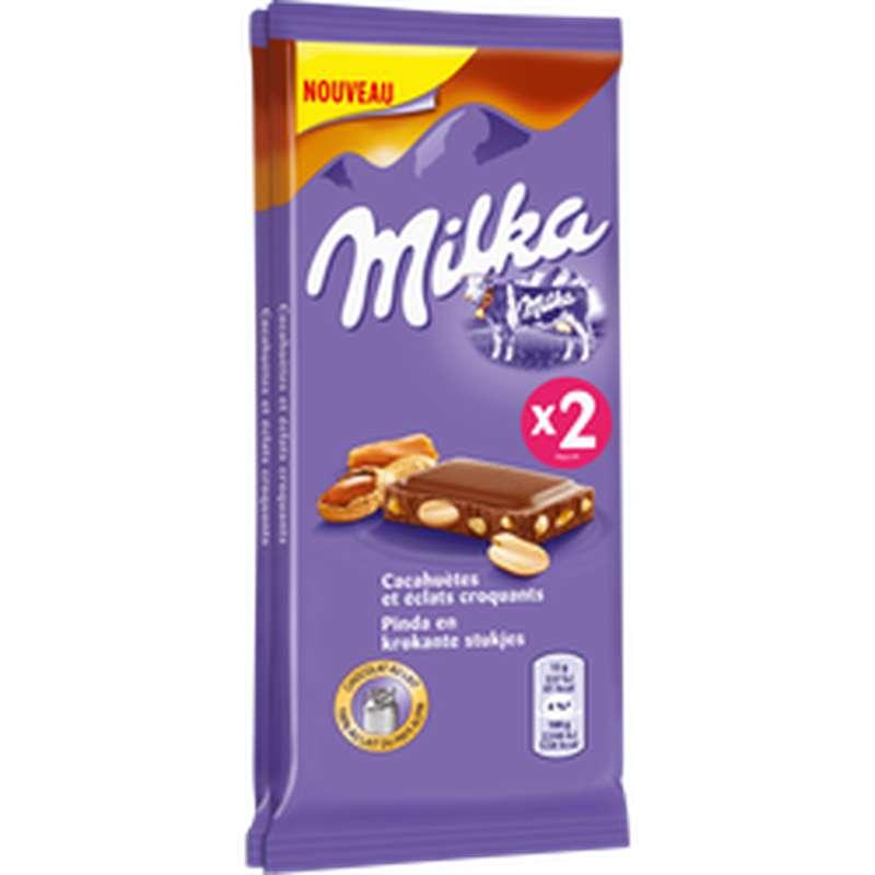 Chocolat cacahuètes & caramel, Milka (2 x 90 g)