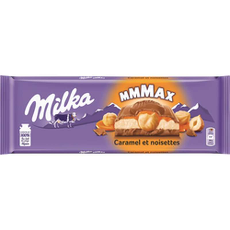Chocolat au lait fourré à la crème caramel et noisettes, Milka (300 g)
