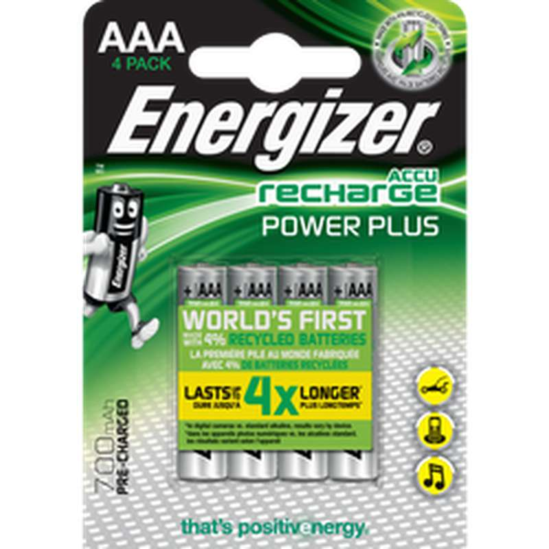 Piles Recharge Power Plus LR03/AAA, Energizer (x 4)