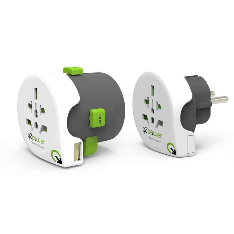 Adaptateur de voyage 195 pays avec USB, Q2power