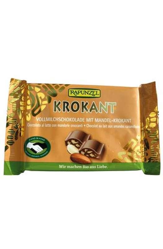Chocolat au lait aux amandes croustillantes BIO, Rapunzel (100 g)