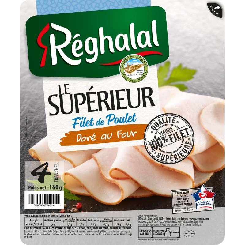 Filet de poulet Le Supérieur doré au four, Reghalal (x 4 tranches, 160 g)