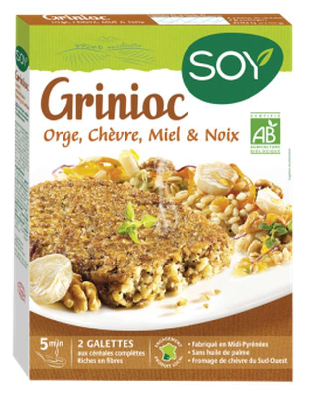 Grinioc orge chèvre miel et noix BIO, Soy (x 2, 200 g)