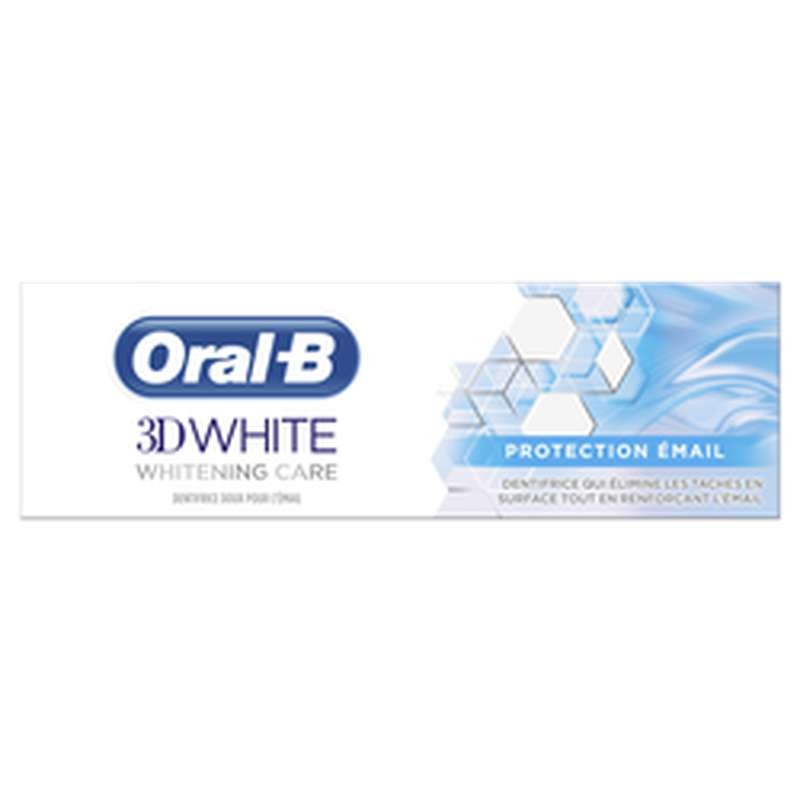 Dentifrice 3D whitening care protection émail, Oral B (75 ml)