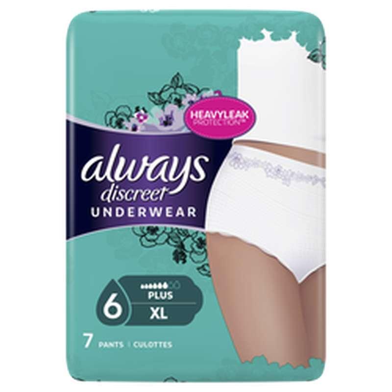 Culottes anti-fuites Discreet taille XL, Always (x 7)