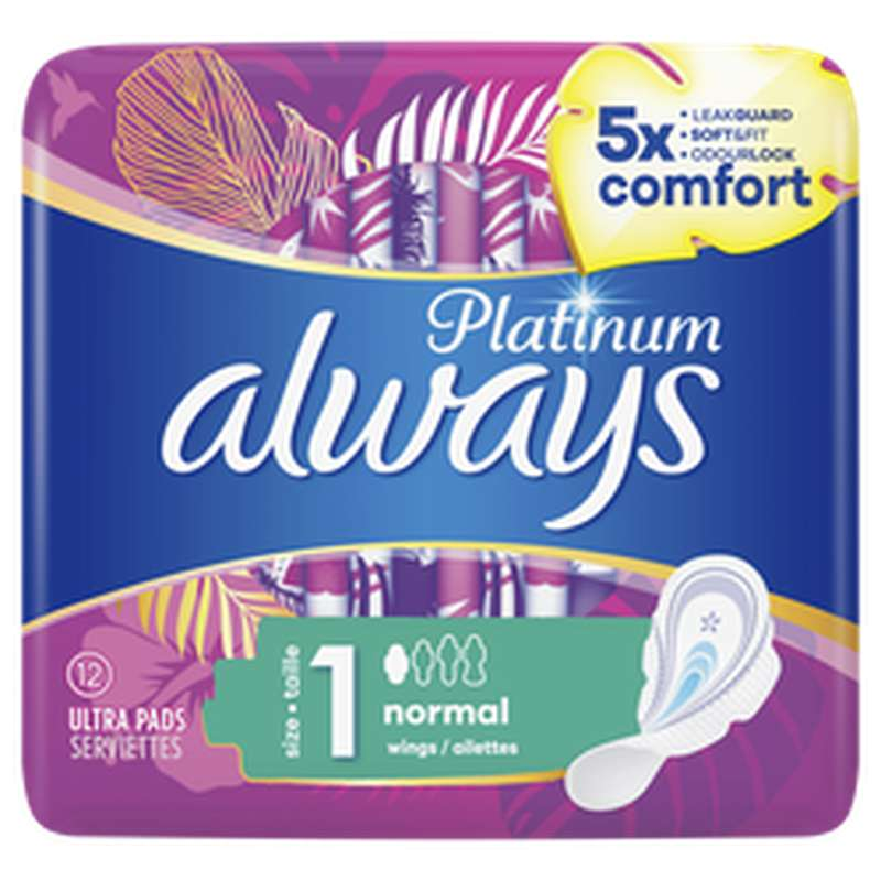 Serviettes Platinum Normal, Always (x 12)