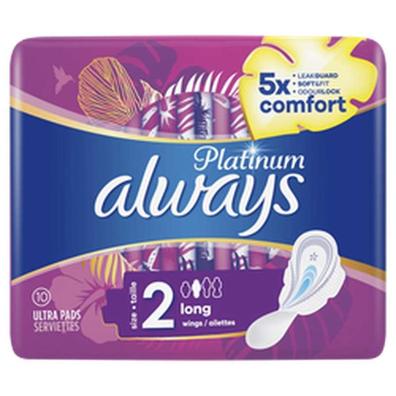 Serviettes Platinum Long, Always (x 10)