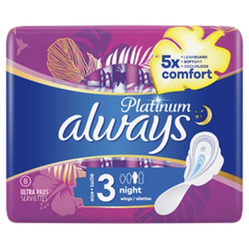 Serviettes nuit Platinum Ultra, Always (x 8)