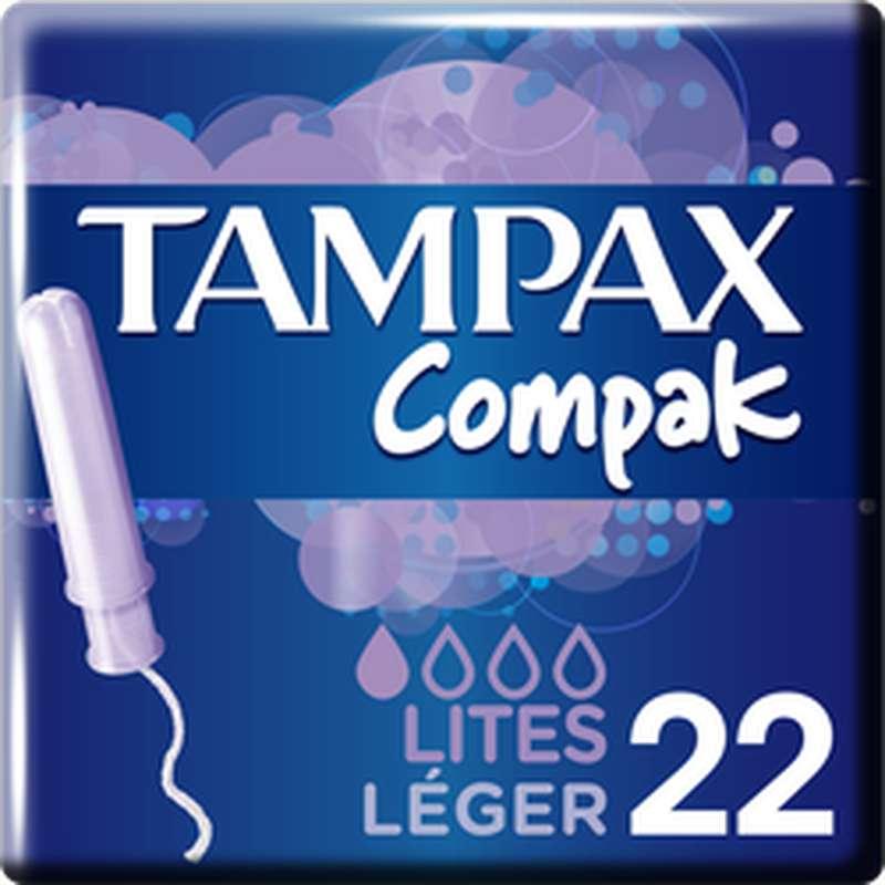 Tampons Compak avec applicateur Léger, Tampax (x 22)