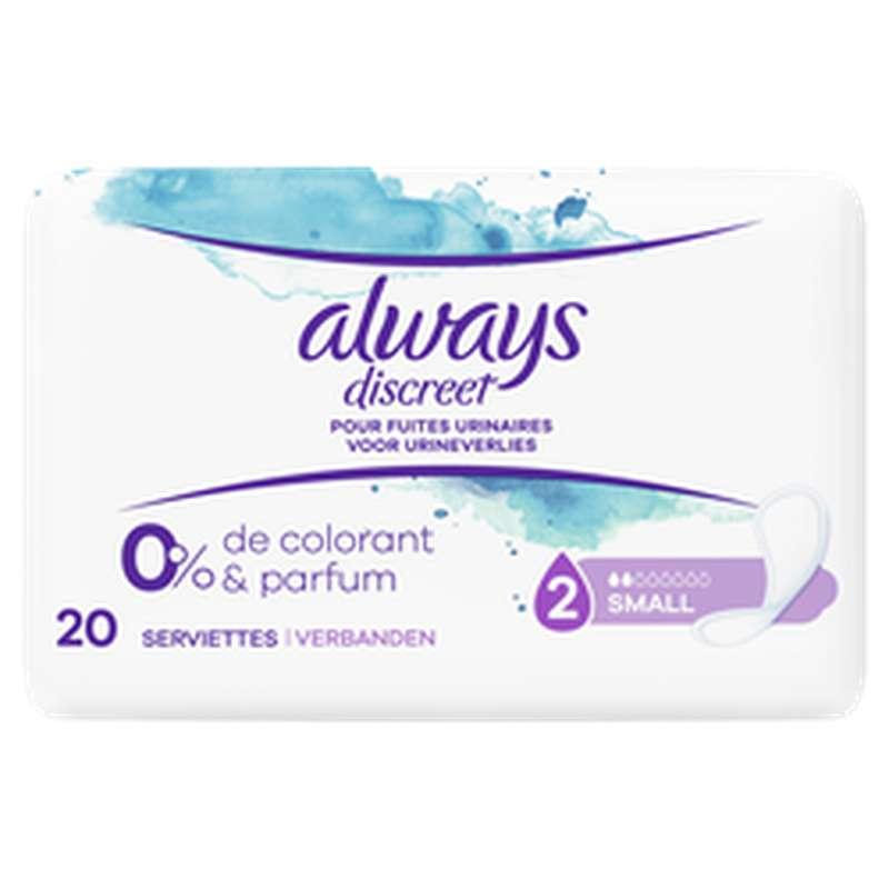 Serviettes Discreet Small 0% colorant et parfum, Always (x 20)