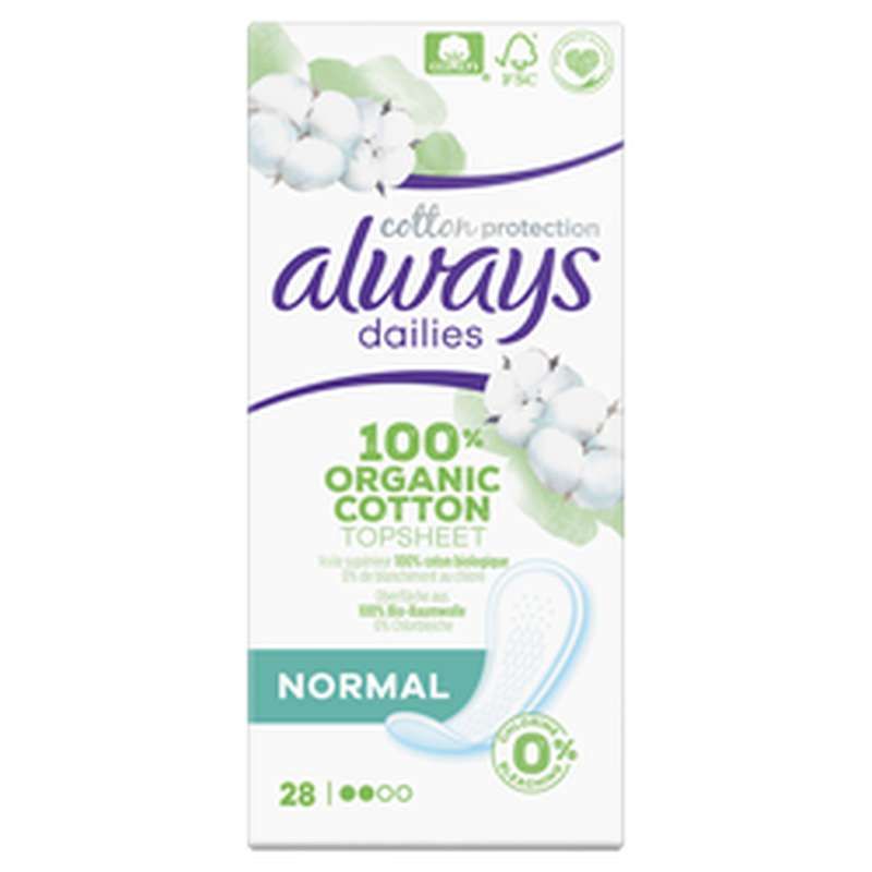 Serviettes 100% coton organic Normal, Always (x 28)