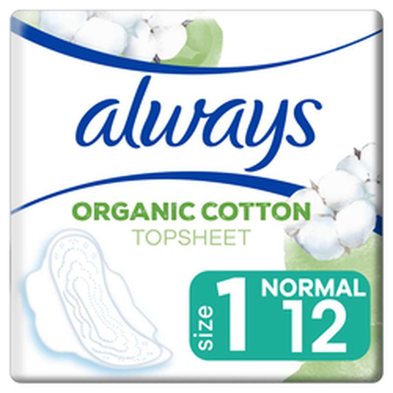 Serviettes 100% coton organic Normal, Always (x 12)