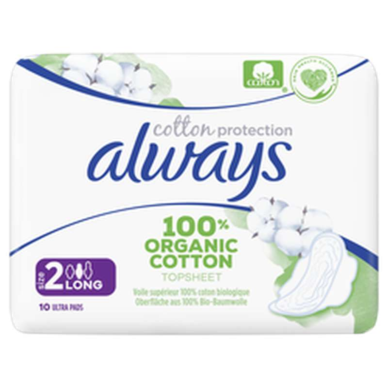 Serviettes 100% coton organic Long, Always (x 10)