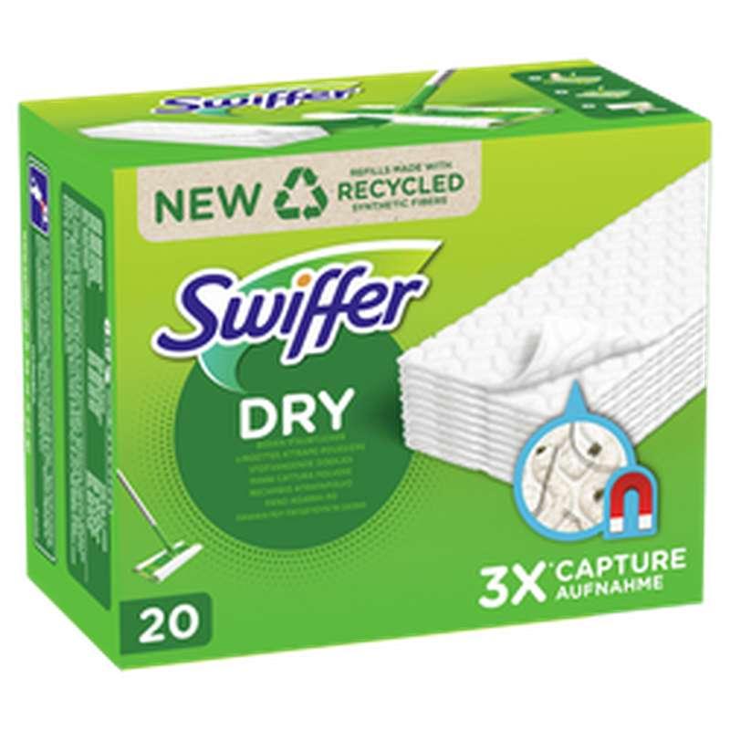 Lingettes sèches attrape-poussière 3x plus absorbantes, Swiffer (x 20)