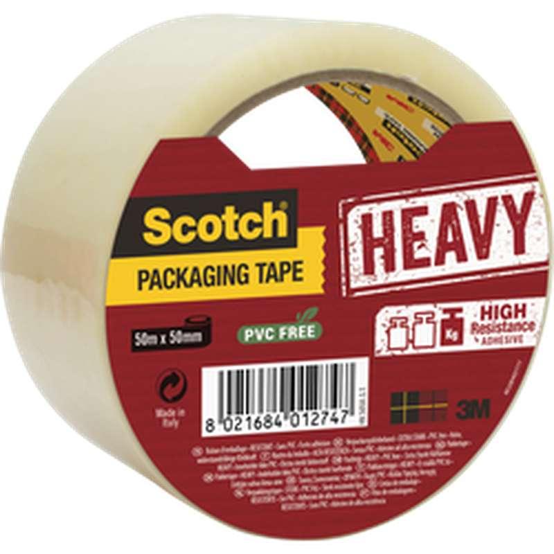 Ruban d'emballage transparent haute résistance, Scotch (50 mm x 50 m)