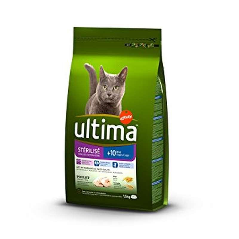Croquettes pour chat stérilisé au poulet + de 10 ans, Ultima (1,5 kg)