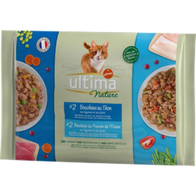 Bouchées pour chat au thon et poisson, Ultima Nature (4 x 85 g)