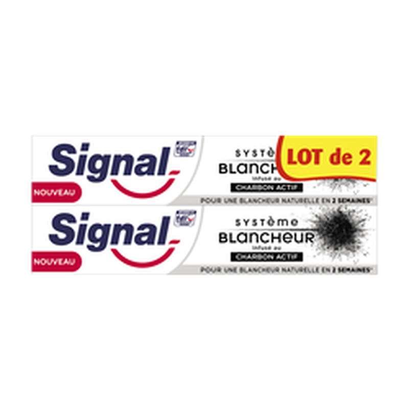 Dentifrice blancheur charbon actif, Signal LOT DE 2 (2 x 75 ml)
