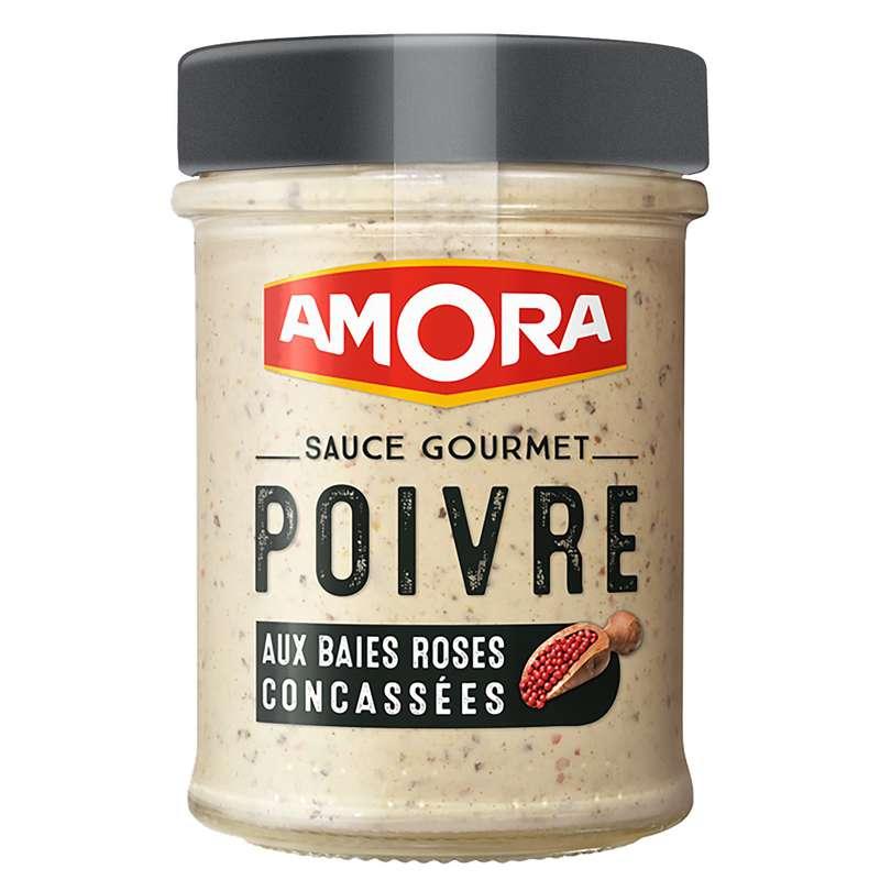Sauces poivre et aux baies roses concassées, Amora (188 g)