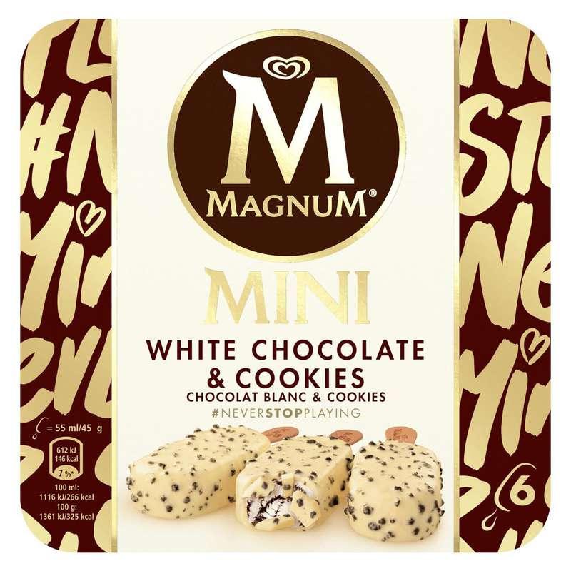 Glace chocolat blanc & cookies, Magnum (x 6)
