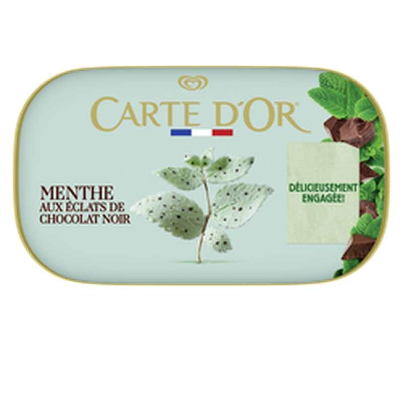 Crème glacée menthe éclats chocolats noir, Carte d'Or (491g)