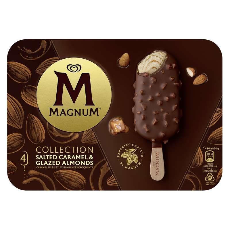 Glace caramel salé et amande, Magnum (x 4)