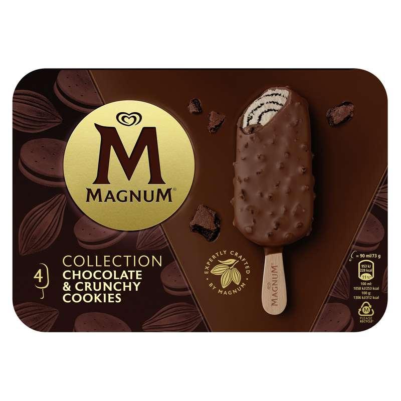 Glace bâtonnet chocolat cookies, Magnum (x 4)