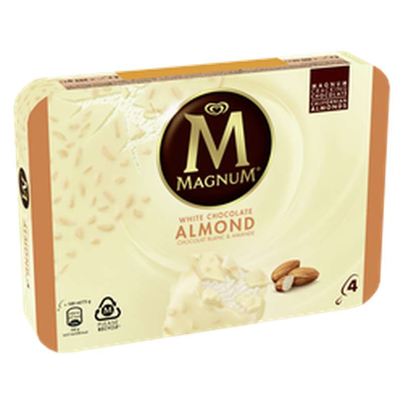 Glace Bâtonnets Chocolat Blanc et Amande, Magnum  (x 4, 292 g)