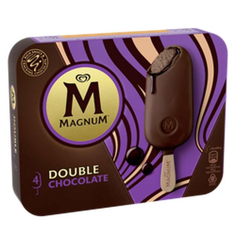 Glace Bâtonnets Double Chocolat, Magnum (x 4, 276 g)