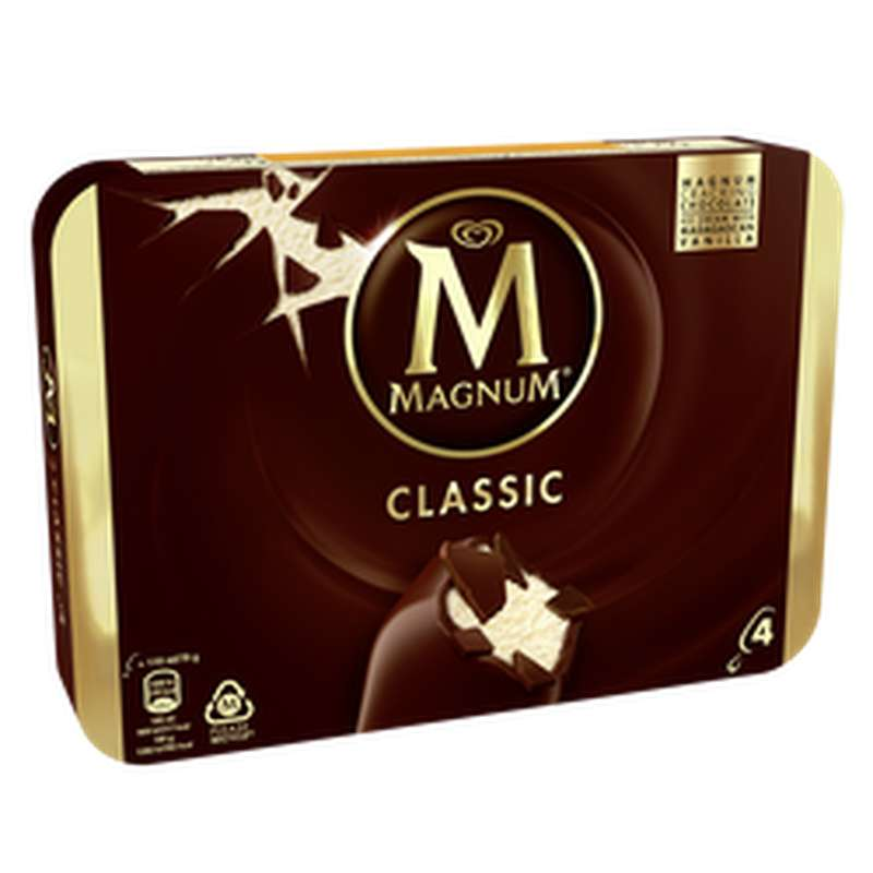 Glace Bâtonnets Classic Vanille, Magnum (x4, 316 g)