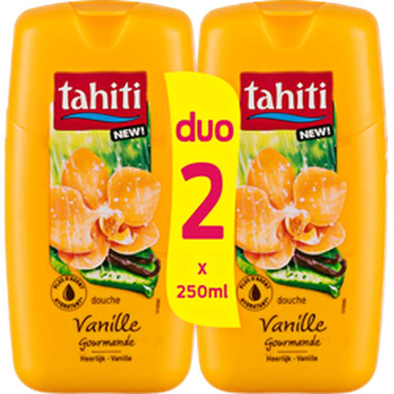 Gel douche vanille gourmande, Tahiti LOT DE 2 (2 x 250 ml)