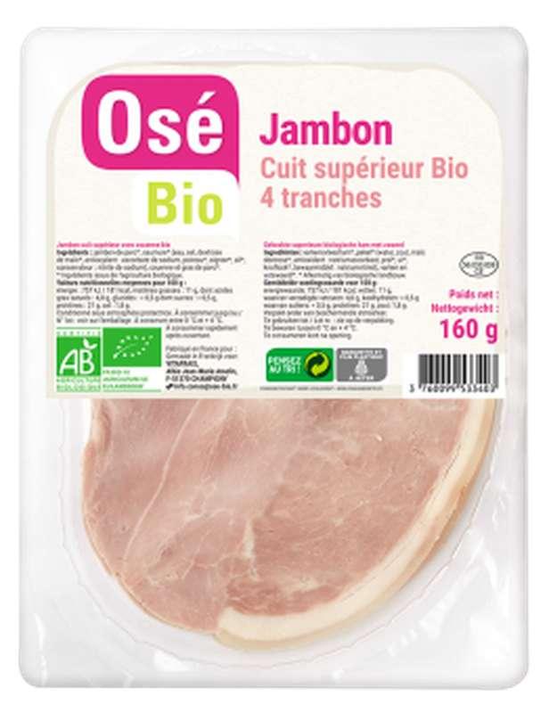 Jambon cuit supérieur avec couenne BIO, Osé Bio (4 tranches, 160 g)