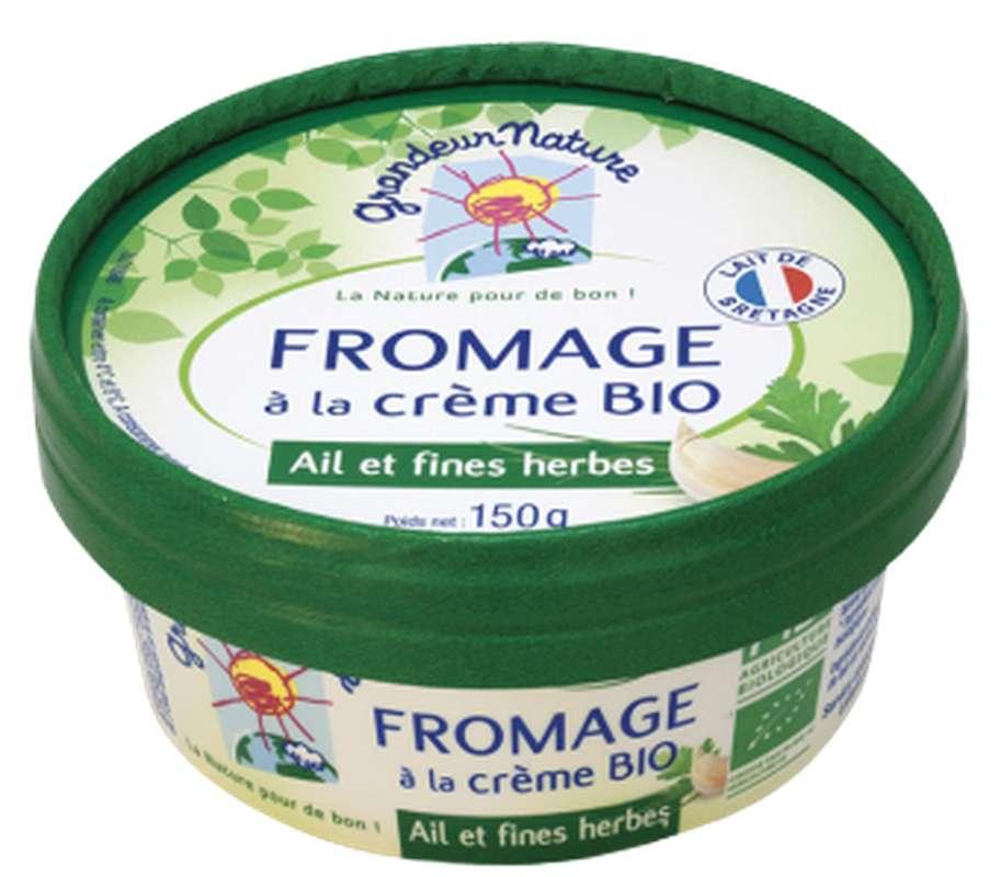 Fromage à la crème ail et fines herbes BIO, 23 % MG/PF, Grandeur Nature (150 g)