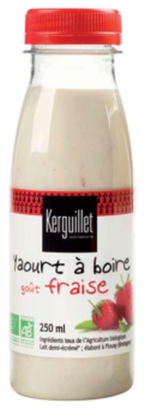 Yaourt à boire à la fraise BIO, Kerguillet (250 ml)