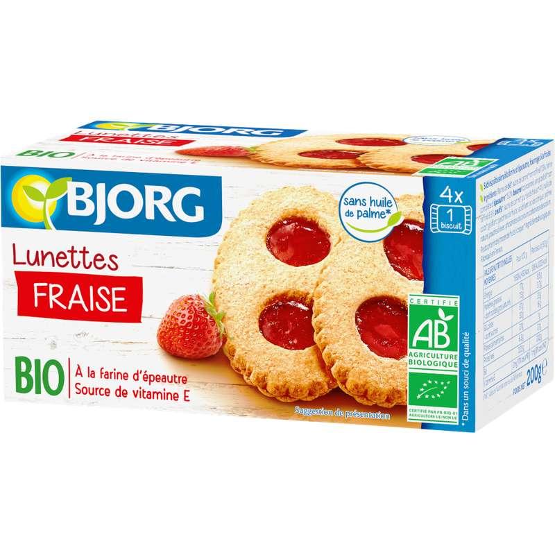 Biscuits lunettes à la fraise BIO, Bjorg (200 g)