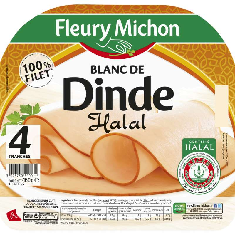 Blanc de dinde Halal, Fleury Michon (4 tranches, 160 g)
