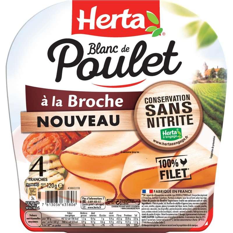 Blanc de poulet à la broche sans nitrite, Herta (4 tranches, 120 g)