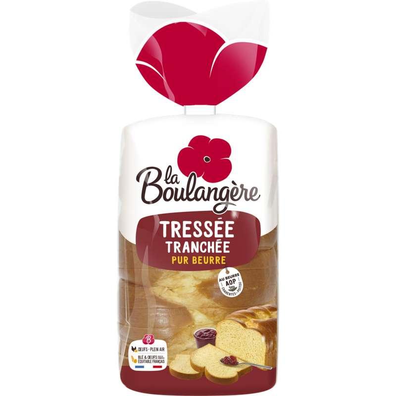 Brioche tressée tranchée pur beurre, La Boulangère (650 g)