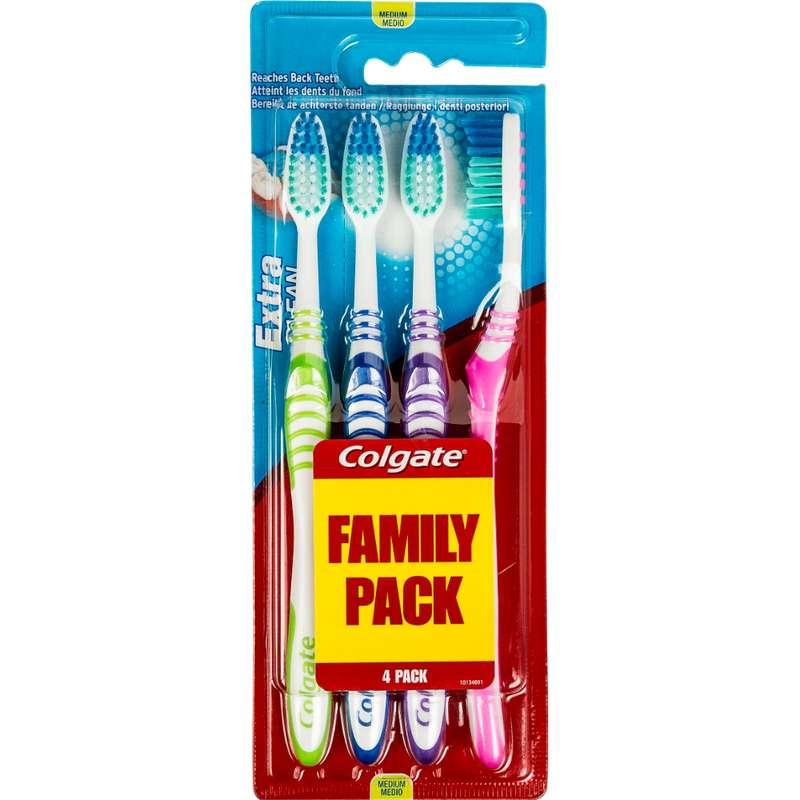 Brosses à dents médium Extra Clean, Colgate (x 4)