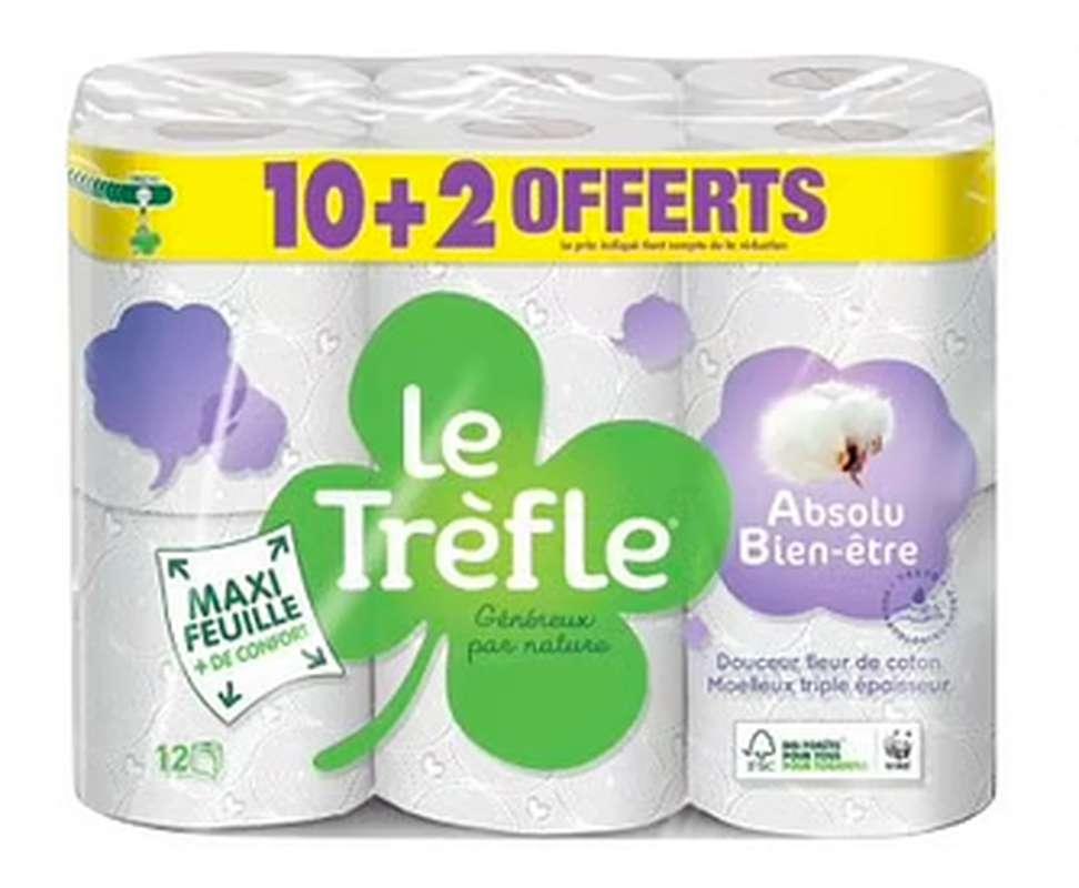 Papier toilette maxi feuille absolu bien-être, Le Trèfle (10 + 2 OFFERTS)