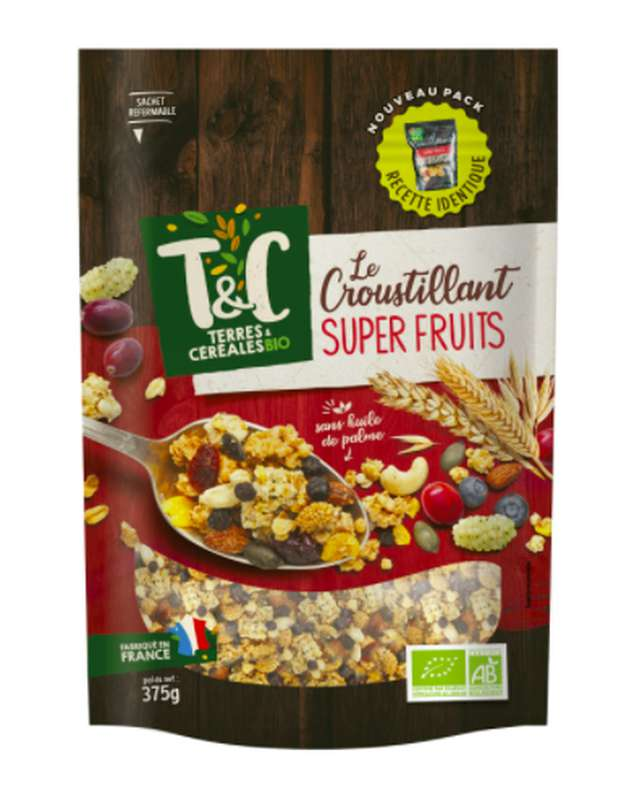 Céréales Le Croustillant Super Fruits BIO, Terre & Céréales (375 g)
