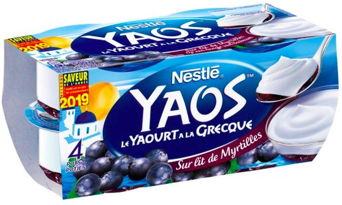 Yaourt sur lit de Myrtilles à la Grecque Yaos, Nestlé (4 x 125 g)