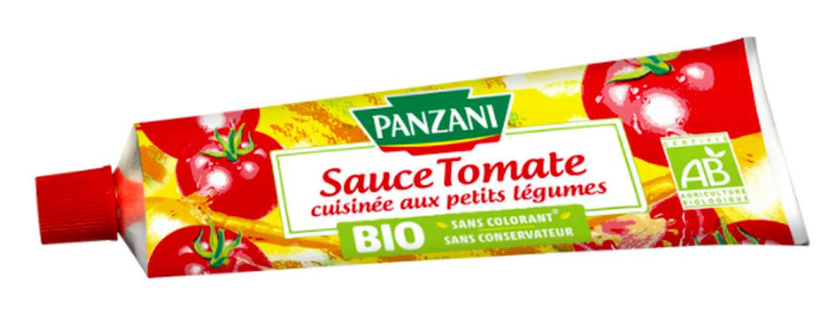 Sauce tomate cuisinée aux petits légumes en tube BIO, Panzani (180 g)