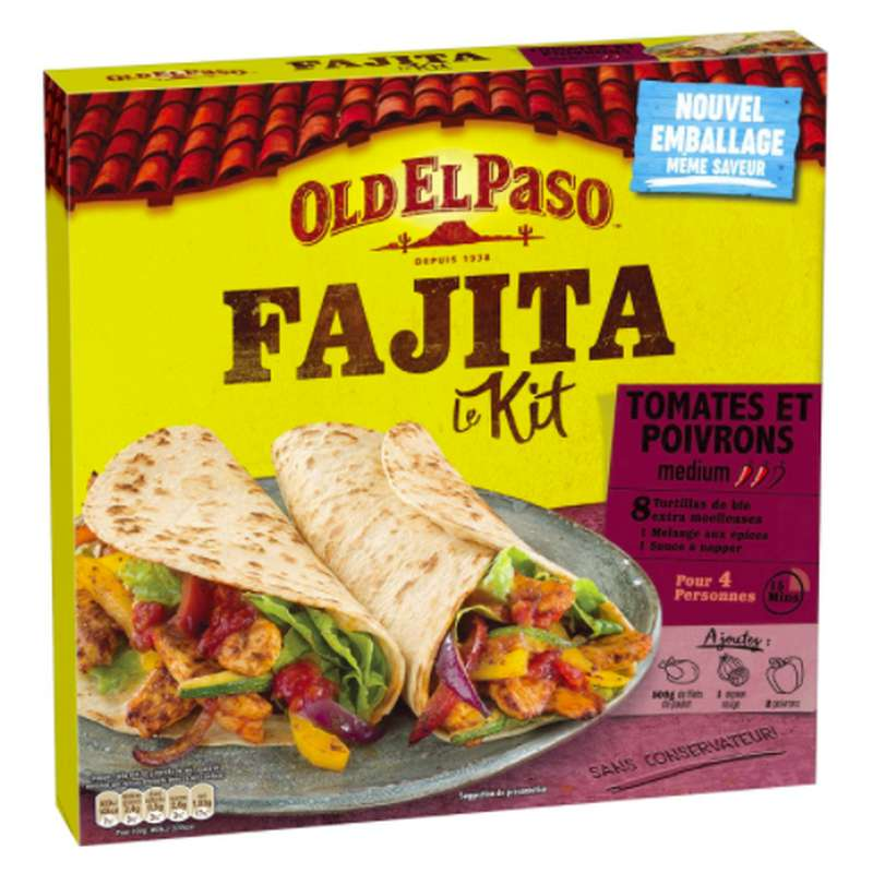 Kit pour Fajitas tomates et poivrons, Old El Paso (x 8, 500 g)
