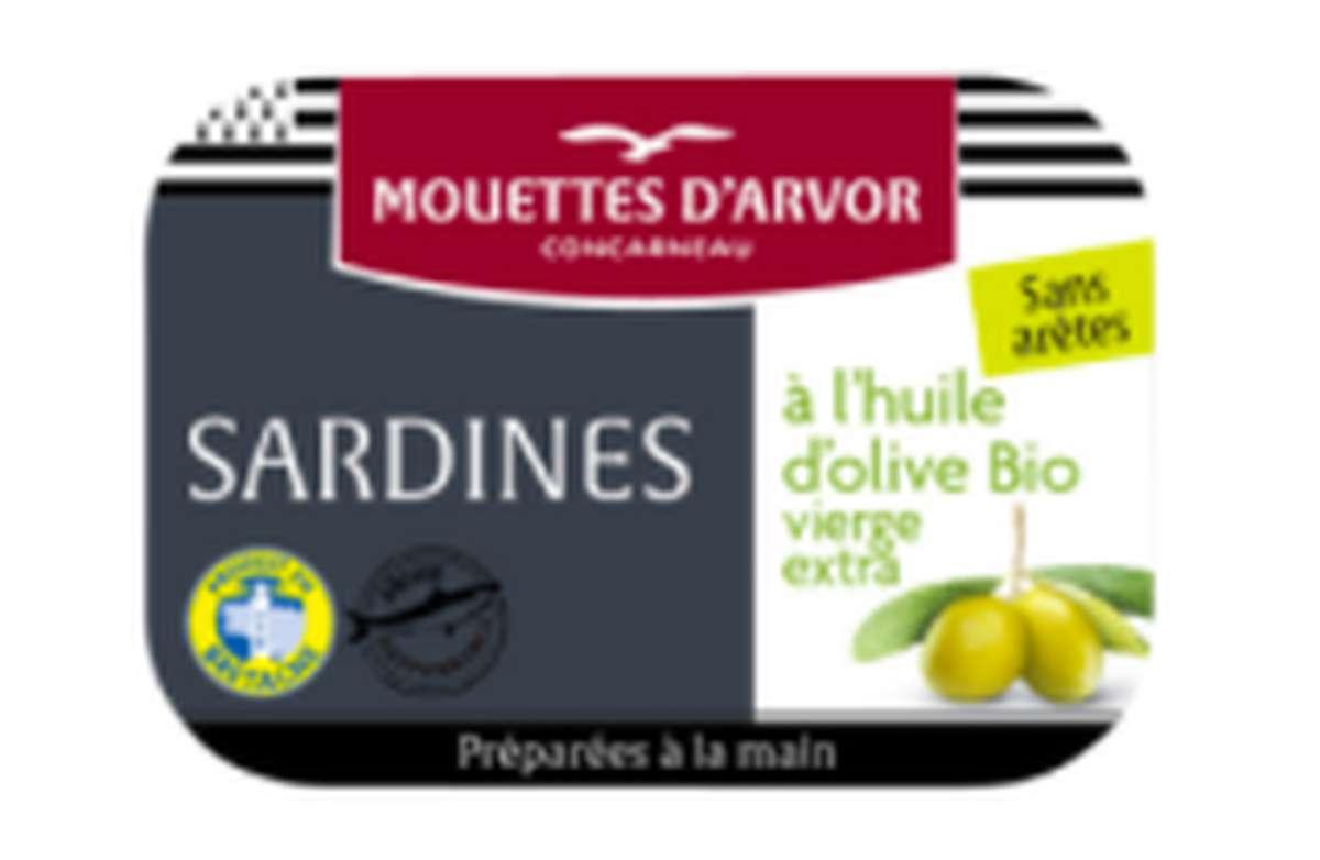 Sardines à l'huile d'olive vierge extra sans arêtes, Les Mouettes d'Arvor (115 g)